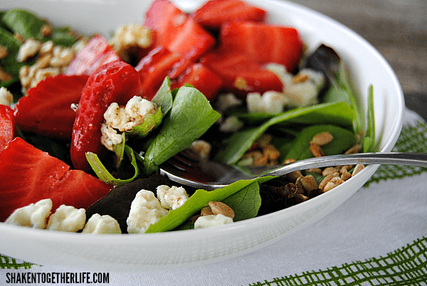 This Simple Strawberry Balsamic Salad will be your new Spring and Summer go to - add grilled chicken or shrimp for a healthy dinner, too!