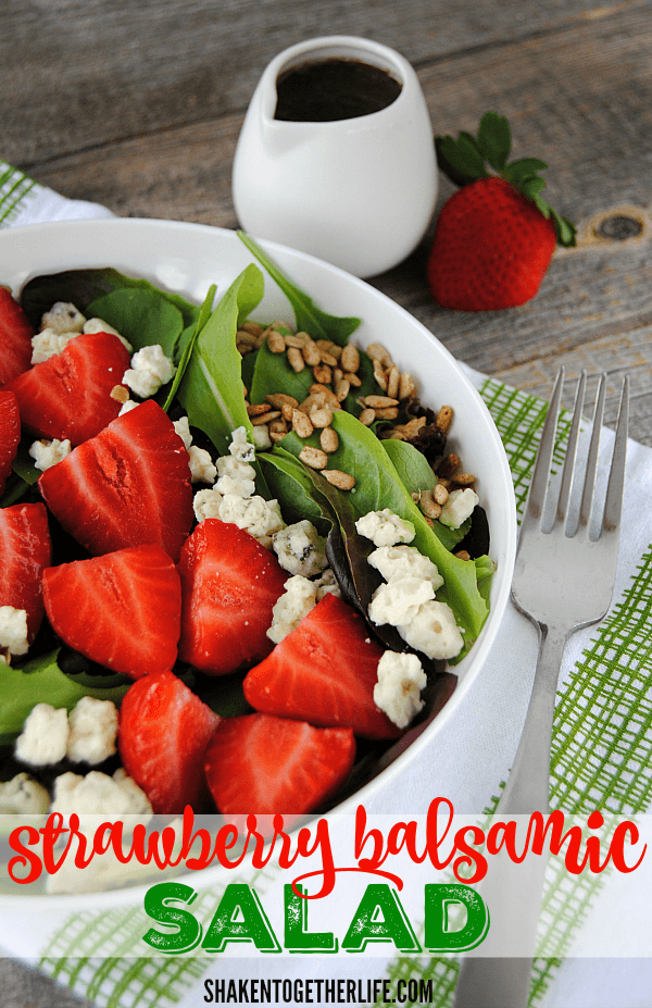 Simple Strawberry Balsamic Salad - crisp greens are topped with ripe strawberries and tangy Gorgonzola cheese, then drizzled with Balsamic dressing - perfect for that gorgeous Spring and Summer produce!