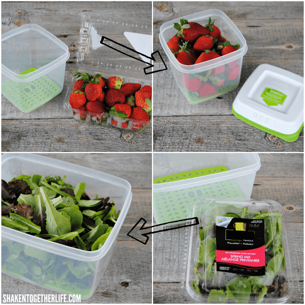 Keep the fruits and veggies for our Simple Strawberry Balsamic Salad fresh longer with Rubbermaid® FreshWorks™ Produce Savers!