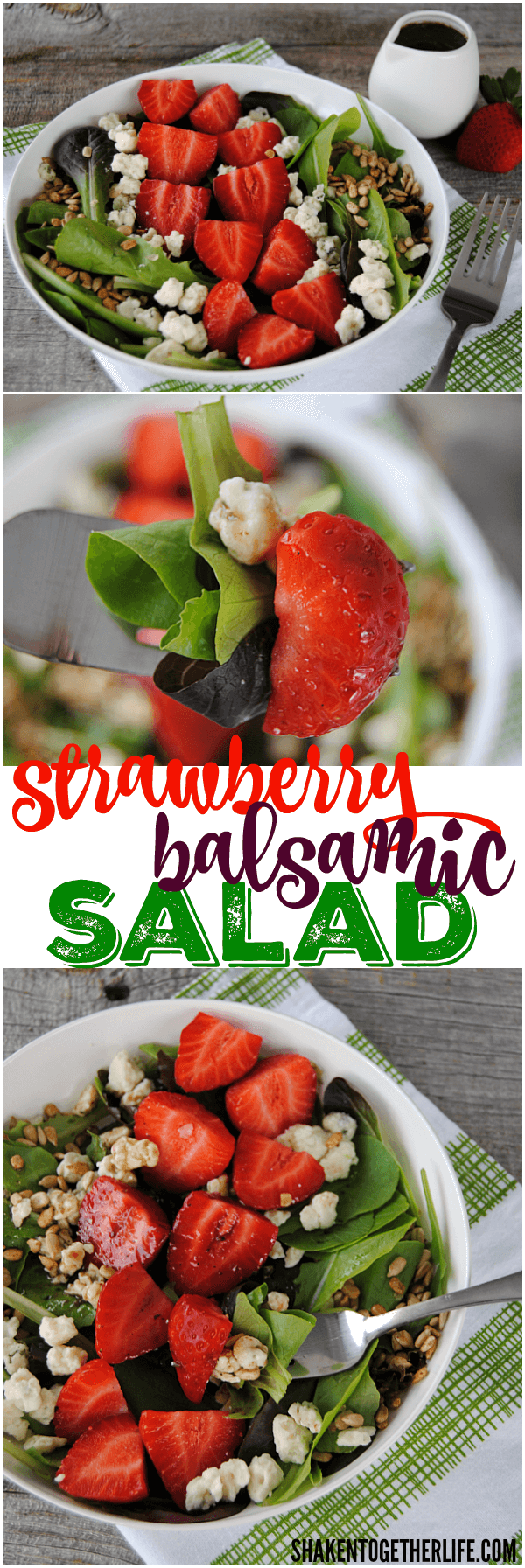 Our Simple Strawberry Balsamic Salad pairs crisp greens, ripe strawberries, tangy Gorgonzola cheese and crunchy seeds with a light Balsamic dressing. It's pretty much the perfect salad!