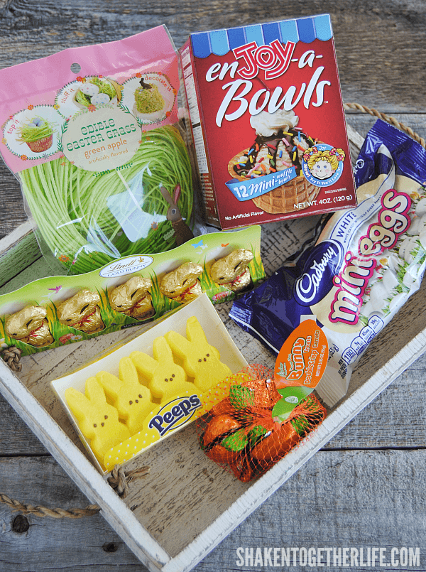 Hit the candy and seasonal aisles at your local grocery store or Target for all of the fun supplies for these Mini Edible Easter Baskets!