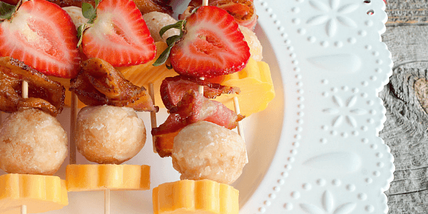 Sweet and salty, these Berry Brunch Kabobs are a delicious and easy brunch recipe!