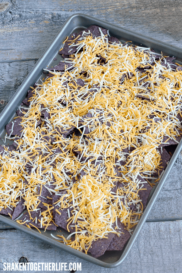 Top blue corn chips with shredded Mexican blend cheese for the first layer of our Breakfast Nachos