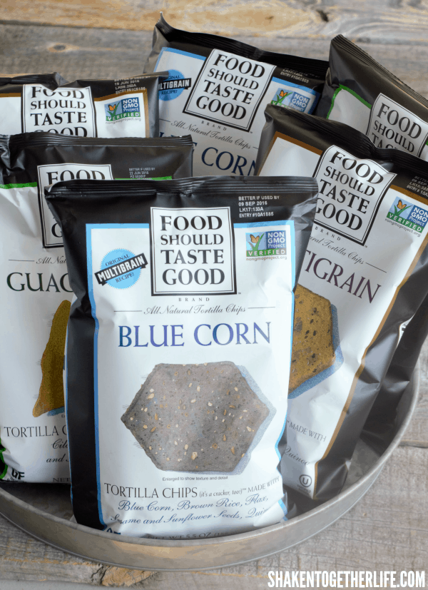I love the Blue Corn chips from Food Should Taste Good for  the base of our Breakfast Nachos - what a great pop of color!!