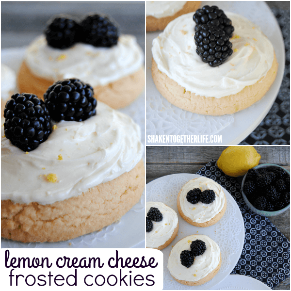 Lemon Cream Cheese Frosted Cookies with Blackberries