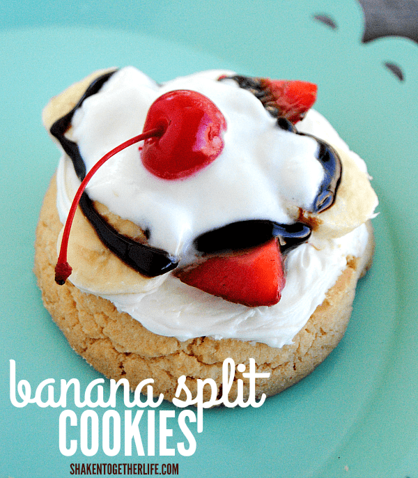 Banana Split Cookies - such a fun twist on a classic banana split! You won't believe how quick and easy this dessert is to make!