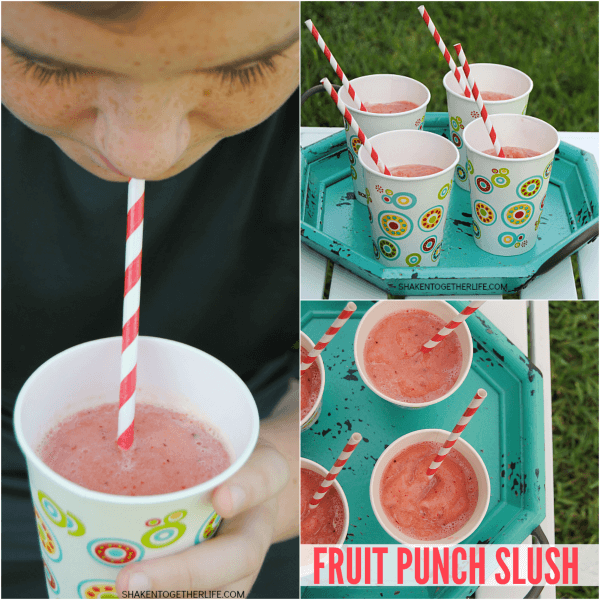 Kids and adults will LOVE this healthy 2-ingredient Fruit Punch Slush. Hello Summer!