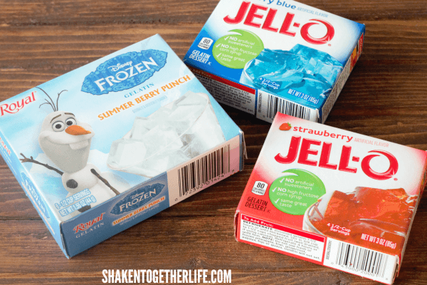 Jell-o and water are all you need to make these fun Red, White & Blue Jello Ice Cubes!