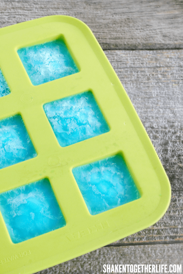 How cool! Red White & Blue Jello Ice Cubes! And they don't melt!