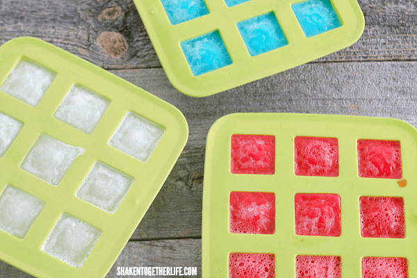 Use flexible silicone molds to make it easier to pop the Red White & Blue Jello Ice Cubes out!