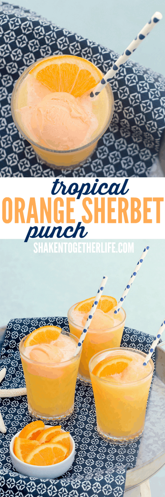 Tropical Orange Sherbet Punch is on repeat this Summer! Tropical fruit juices, lemon lime soda and scoops of orange sherbet make this punch a family favorite!