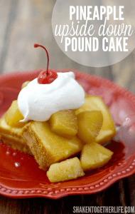 Pineapple Upside Down Pound Cake - how can you go wrong with brown sugar simmered pineapple, whipped cream and a cherry on top?!