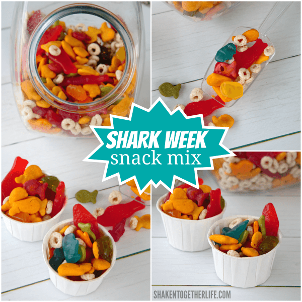 Colorful, sweet and salty Shark Week Snack Mix is perfect for shark or ocean themed parties, Shark Week watching or even a trip to Sea World!