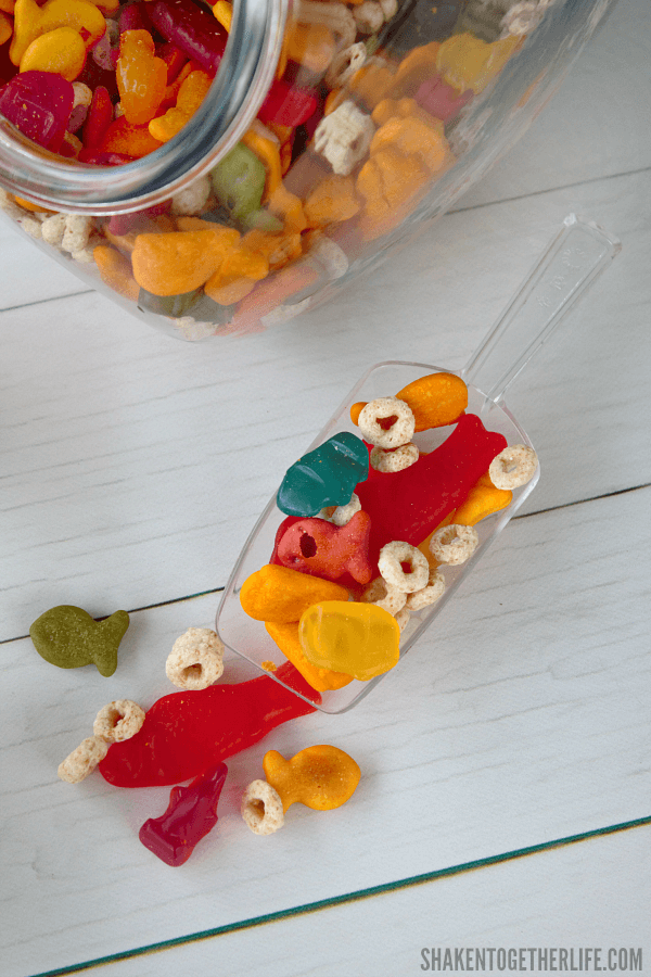 Need a shark themed snack? Try our colorful, sweet and salty Shark Week Snack Mix!