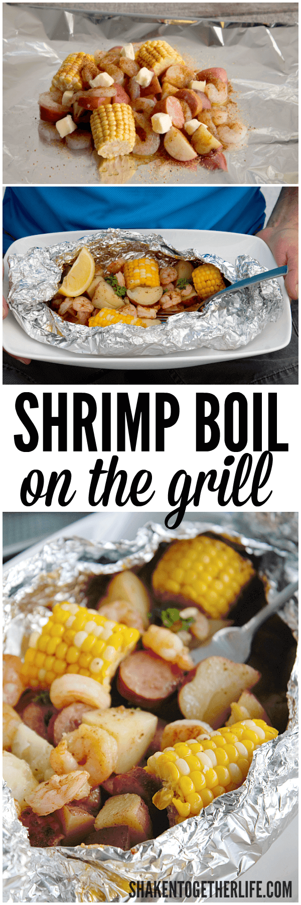 Shrimp Boil on the Grill! FL shrimp, sweet corn, smoky sausage and potatoes cook perfectly in individual foil packets and clean up couldn't be easier!