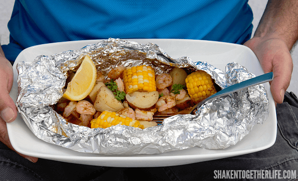 Shrimp Boil on the Grill! FL shrimp, corn, sausage and potatoes cook perfectly in individual foil packets and clean up couldn't be easier!