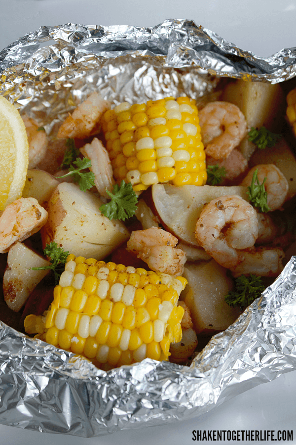 Shrimp Boil on the Grill - just look at all that glorious food tucked in each foil packet!