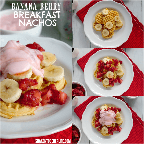 Banana Berry Breakfast Nachos! Mini waffles, berry salsa, sliced bananas and fruity yogurt are a fun way to start the day!