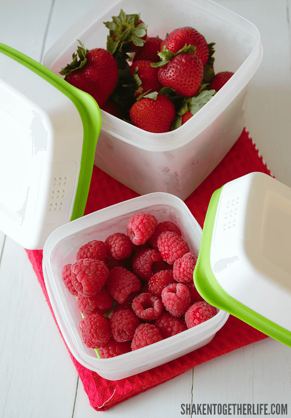 Banana Berry Breakfast Nachos - berries stay fresh longer with Rubbermaid® Freshworks™ Produce Savers!