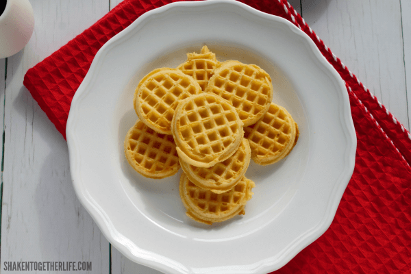 """Toasted mini waffles are the """"chips"""" for our Banana Berry Breakfast Nachos!"""