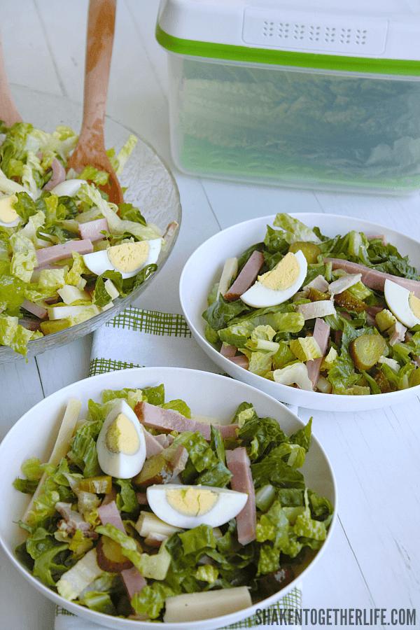 Cuban Cobb Salad in white bowls