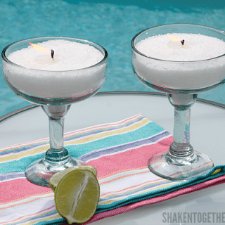 Thrifted margarita glasses make the perfect container for these Easy DIY Margarita Scented Candles! No wax melting, no thermometers - this is the easiest way to make candles hands down!