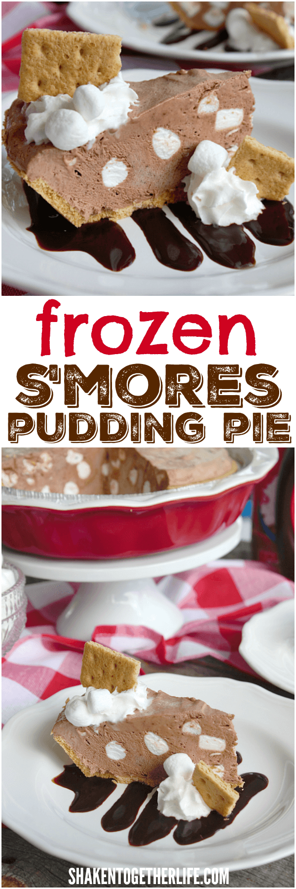 S'mores get a no bake, no fire makeover with our cool creamy Frozen S'mores Pudding Pie!