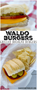 waldo burgers on rolls with pickles