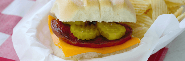 Waldo Burgers? Otherwise known as Grilled Bologna Burgers! We love these tasty, savory burgers topped with cheese and pickles!