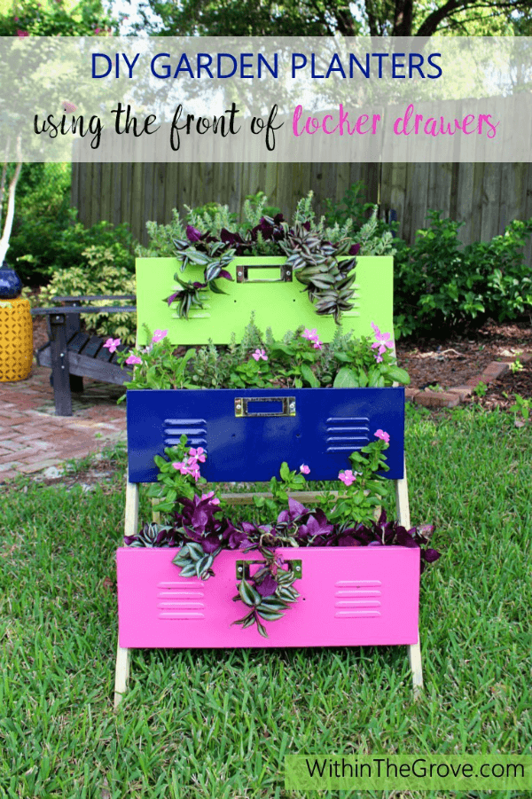 Love these DIY Planters using Locker Drawers from Within the Grove!
