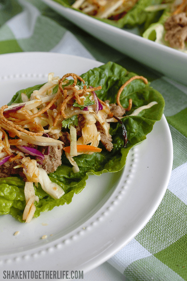Asian Turkey Lettuce Wraps with Sesame Ginger Slaw - you won't even miss the bun!