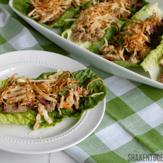Asian Turkey Lettuce Wraps with Sesame Ginger Slaw