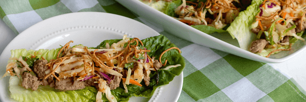 Asian Turkey Lettuce Wraps with Sesame Ginger Slaw are a healthy, flavorful meal that our entire family loves!