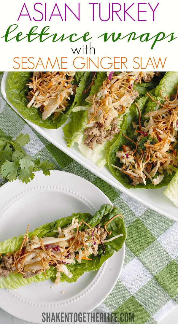 Flavorful and healthy, Asian Turkey Lettuce Wraps with Sesame Ginger Slaw are an easy, family favorite!