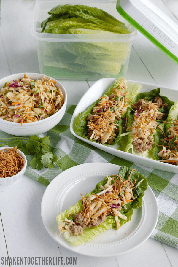 Asian Turkey Lettuce Wraps with Sesame Ginger Slaw - healthy and flavorful!