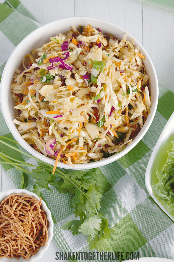 Fresh and crisp, the Sesame Ginger Slaw is the perfect topping for Asian Turkey Lettuce Wraps!
