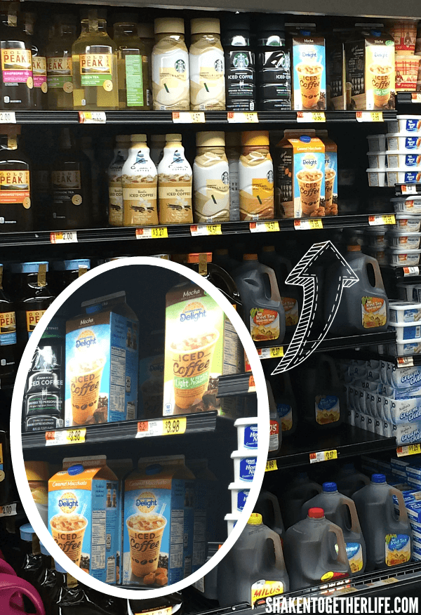 Pick up International Delight Iced Coffee in the refrigerated tea/juice section of your local Walmart - you'll need it to make our Iced Mocha Eclair Cake!