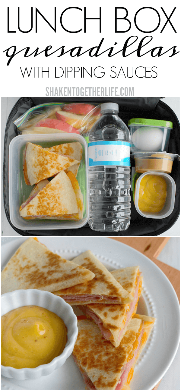 Say goodbye to boring sandwiches with our toasted, cheesy Lunch Box Quesadillas with Dipping Sauces!