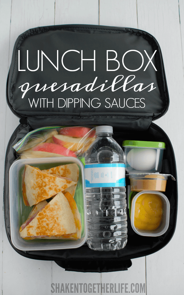 No more sandwiches! Pack our flavorful Lunch Box Quesadillas with dipping sauces. My boys LOVE these!