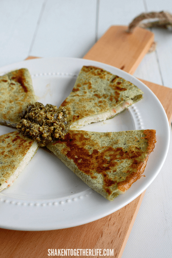 Lunch Box Quesadillas - we love these roasted chicken and provolone  cheese served with pesto to dip them in.