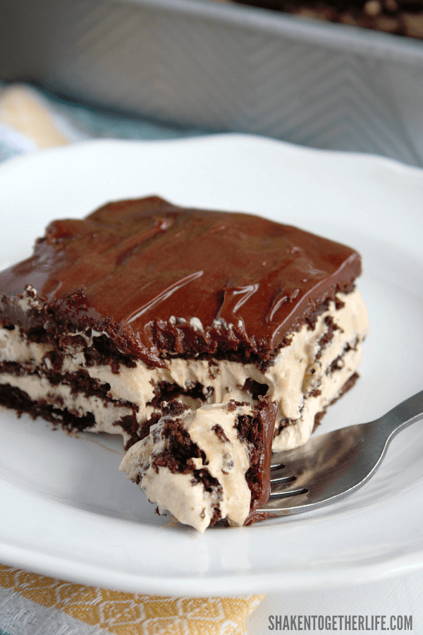 Fluffy iced mocha filling is layered with chocolate graham crackers and fudgy frosting in this easy, amazingly delicious Iced Mocha Eclair Cake!