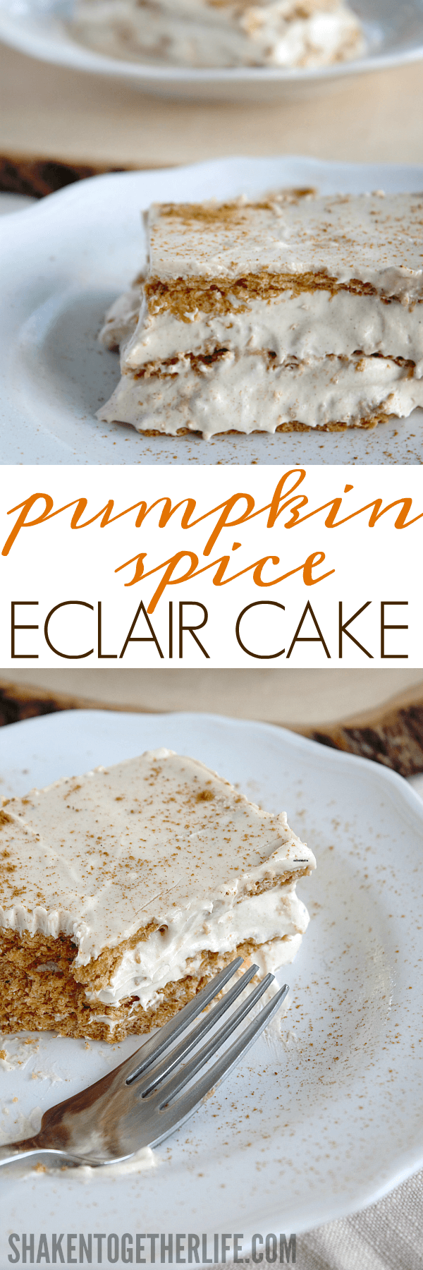 Pumpkin Spice Eclair Cake - cool and creamy and packed with BIG pumpkin spice flavor! This easy no bake dessert is going to be a family favorite!