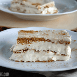 piece of pumpkin eclair cake on white plate