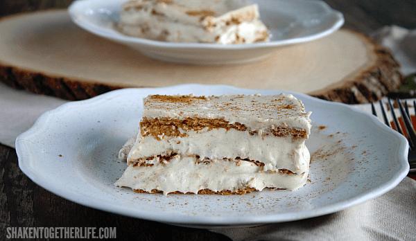 Pumpkin Spice Eclair Cake on white plate