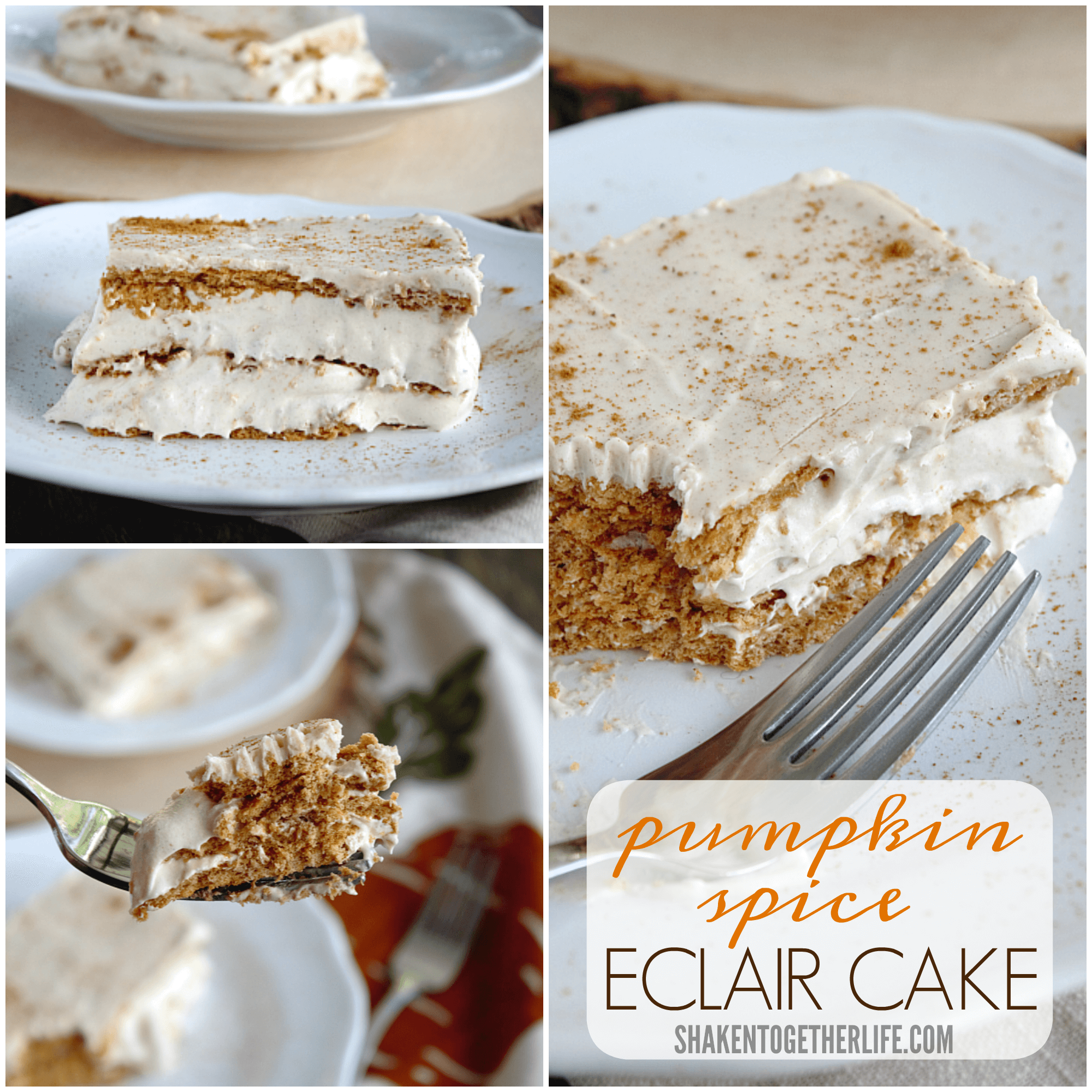 Pumpkin Spice Eclair Cake is the ultimate Fall no bake dessert!