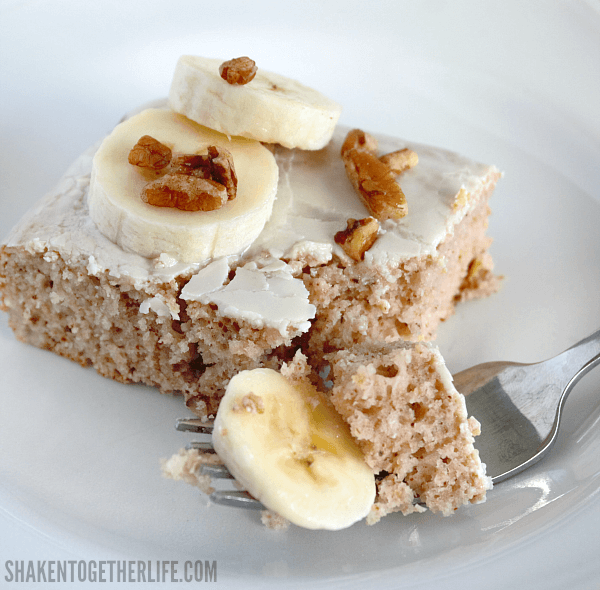 3 Ingredient Banana Nut Muffin Cake - garnish with fresh banana slices and toasted nuts!