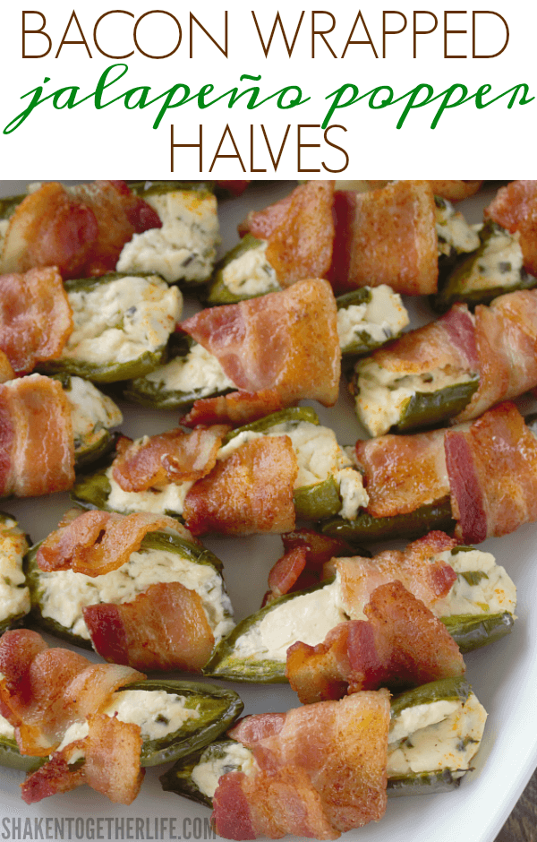 Bacon Wrapped Jalapeño Popper Halves are an easy appetizer perfect for game day, parties and potlucks!