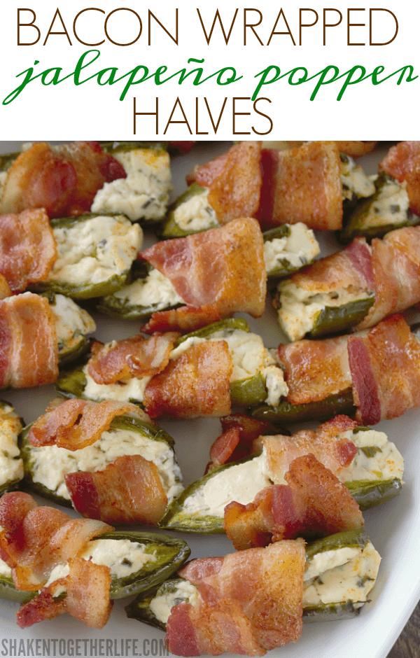 Bacon Wrapped Jalapeño Popper Halves on serving platter