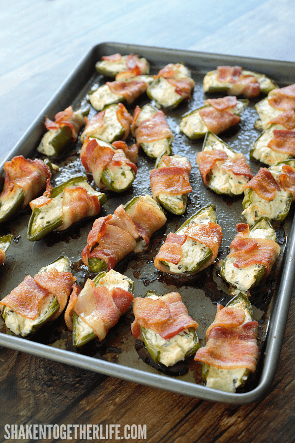 Bacon Wrapped Jalapeño Popper Halves are the perfect easy appetizer for game day, potlucks and parties!