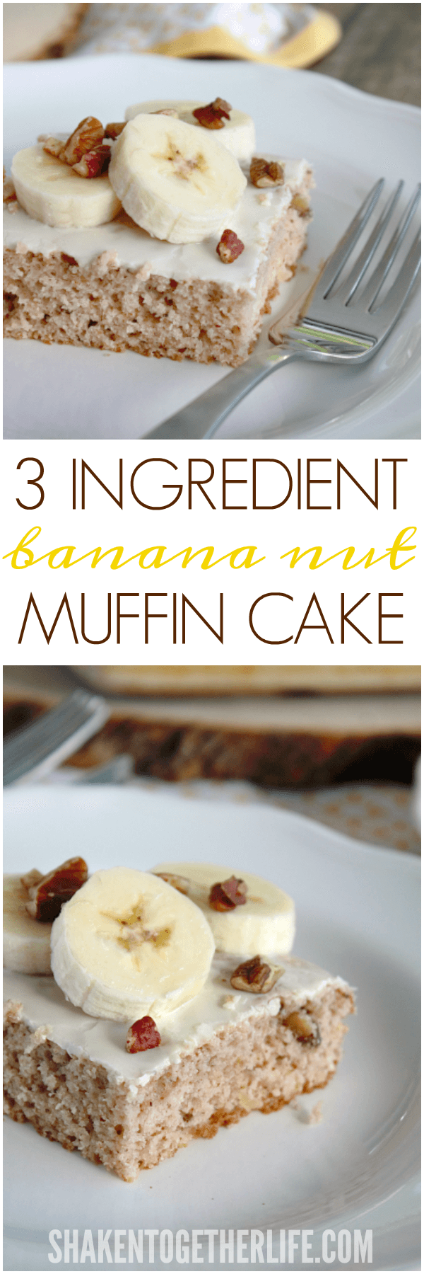 Need an easy breakfast recipe? Try this 3 Ingredient Banana Nut Muffin Cake! Just mix, bake and frost!